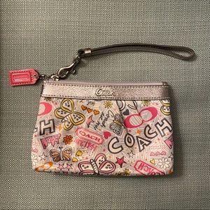 Coach Poppy Butterfly Graffiti Wristlet Pink Gray
